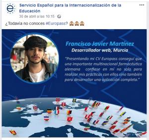 captura de noticia facebook publicada por SEPIE con foto de Francisco Javier Martínez promocionando Europass